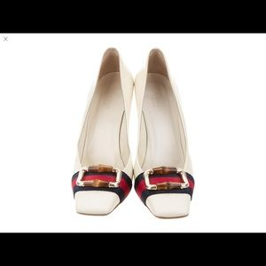 Gucci shoes. Web bamboo pumps. Authentic.